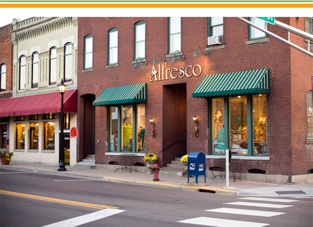 alfresco casual living is located in a historic warehouse building in downtown Stillwater, Minnesota