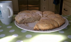 Finished product: Sticky Fingers Bakeries Raspberry White Chocolate Scones